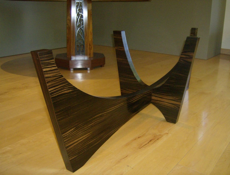 Surfboard Shaped Cocktail Table in Macassar Ebony and Hand Worked Glass In Excellent Condition For Sale In Wilton, CT
