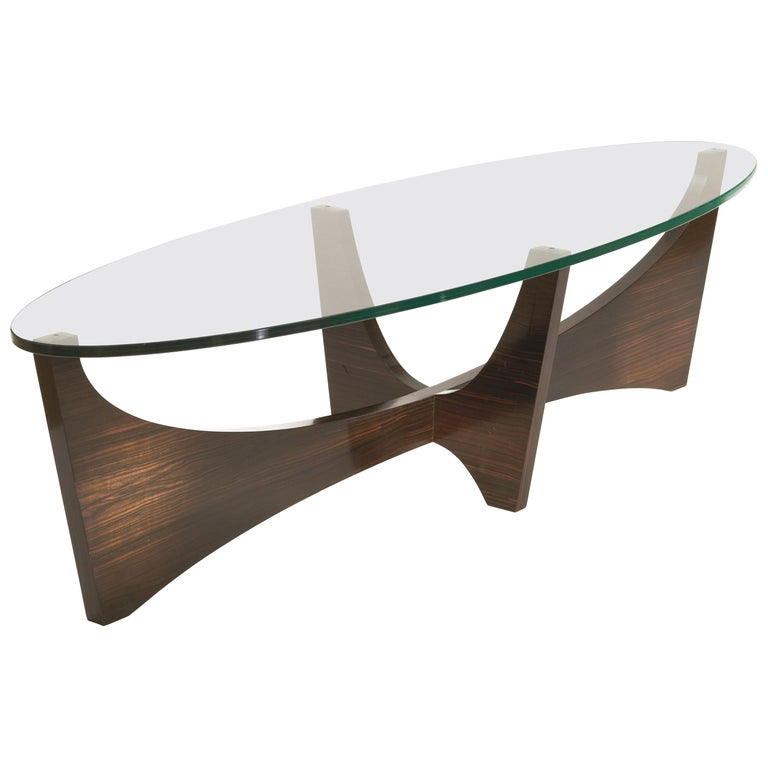 Surfboard Shaped Cocktail Table in Macassar Ebony and Hand Worked Glass For Sale