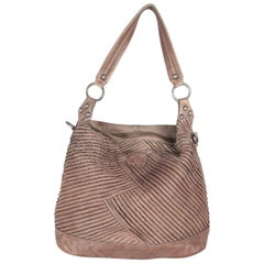 SURI FREY Taupe Pintucked Leather MILEY TOTE Shoulder Bag