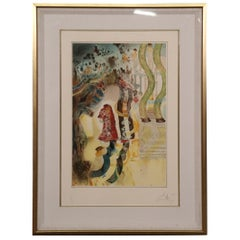 Surreal Figural Signed Print with Nudes