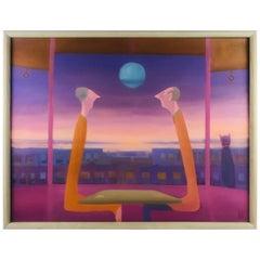 "Surreal Oil on Canvas by Artist Tidi Benchimol ""Tea or Coffee"""