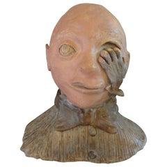 Surreal Terracotta Bust Sculpture