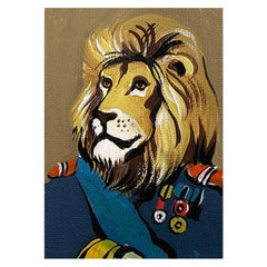 Surrealism Portrait Painting of a Lion in Military Attire