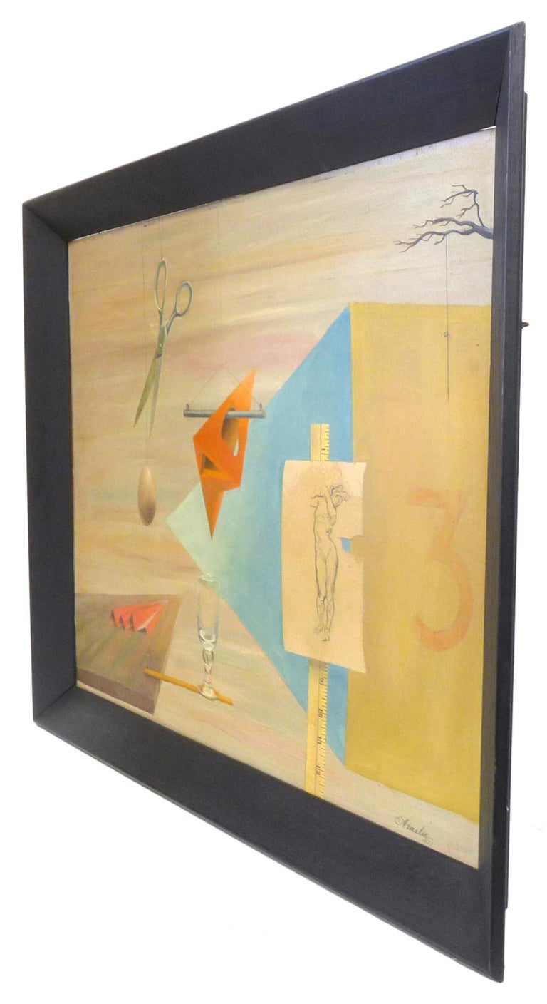 A wonderful surrealist painting by American artist Maud Ainslie. Beautifully executed with a mostly muted palette and evocative surrealist motifs. Signed and dated at lower right corner,