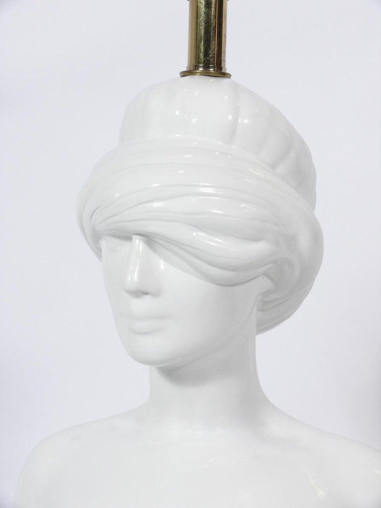 Surrealist Blindfolded Nude Female Italian Ceramic Lamp In Good Condition For Sale In Atlanta, GA
