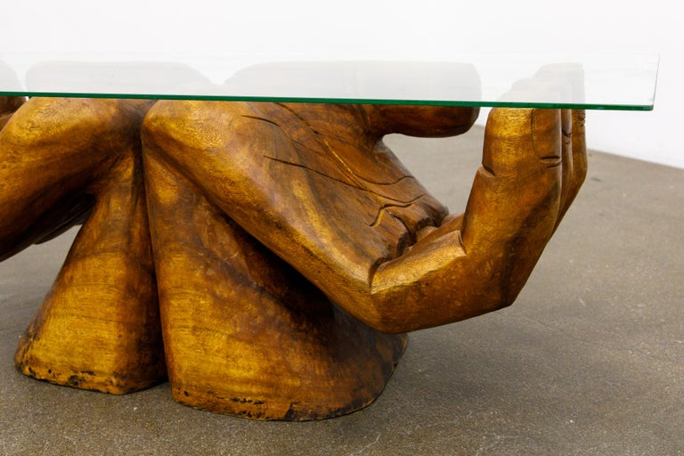 Surrealist Carved Wood Double Hands Coffee Table, circa 1970s For Sale 3
