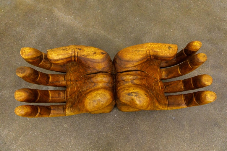 Surrealist Carved Wood Double Hands Coffee Table, circa 1970s For Sale 6