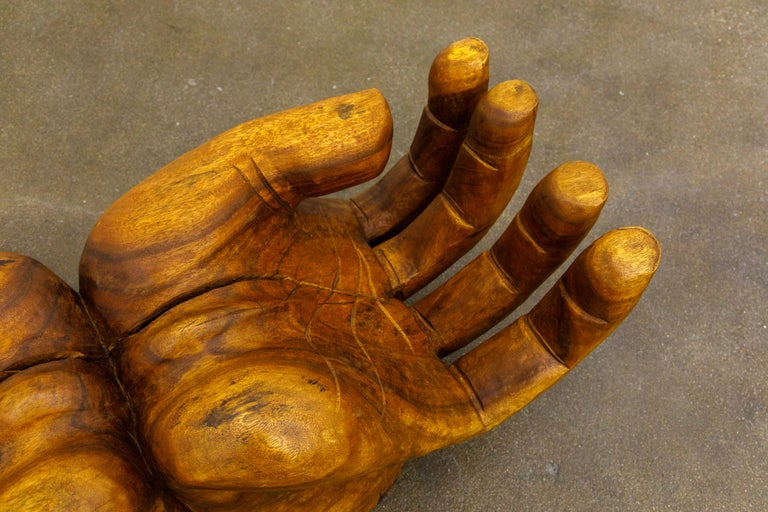 Surrealist Carved Wood Double Hands Coffee Table, circa 1970s For Sale 7