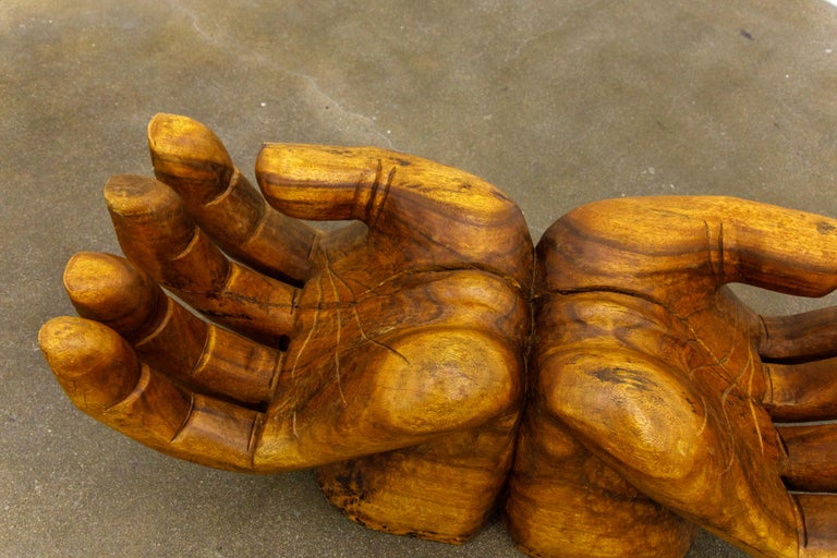Surrealist Carved Wood Double Hands Coffee Table, circa 1970s For Sale 8