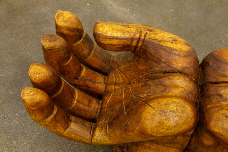 Surrealist Carved Wood Double Hands Coffee Table, circa 1970s For Sale 9