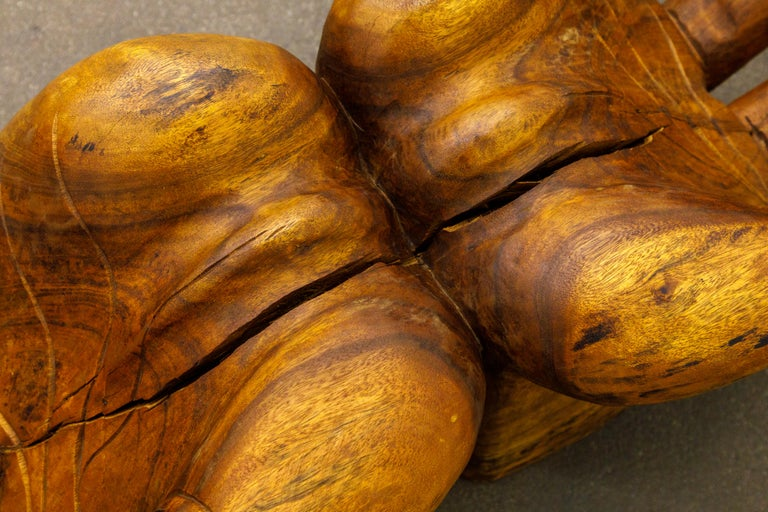 Surrealist Carved Wood Double Hands Coffee Table, circa 1970s For Sale 10