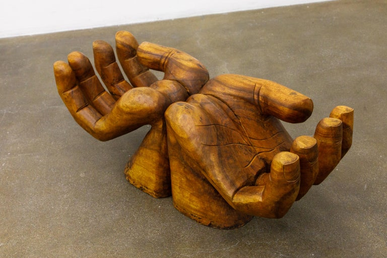 Surrealist Carved Wood Double Hands Coffee Table, circa 1970s For Sale 11