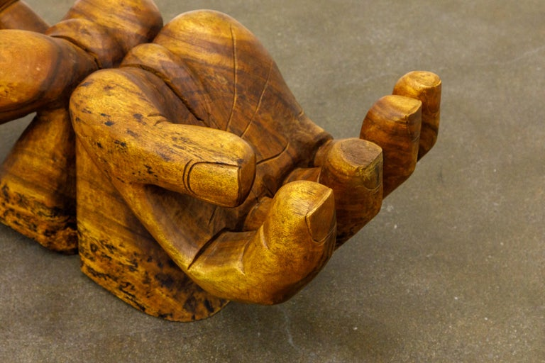Surrealist Carved Wood Double Hands Coffee Table, circa 1970s For Sale 12