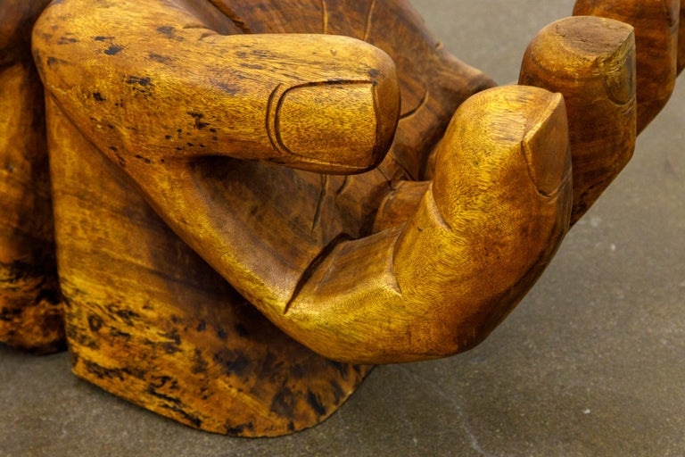 Surrealist Carved Wood Double Hands Coffee Table, circa 1970s For Sale 13