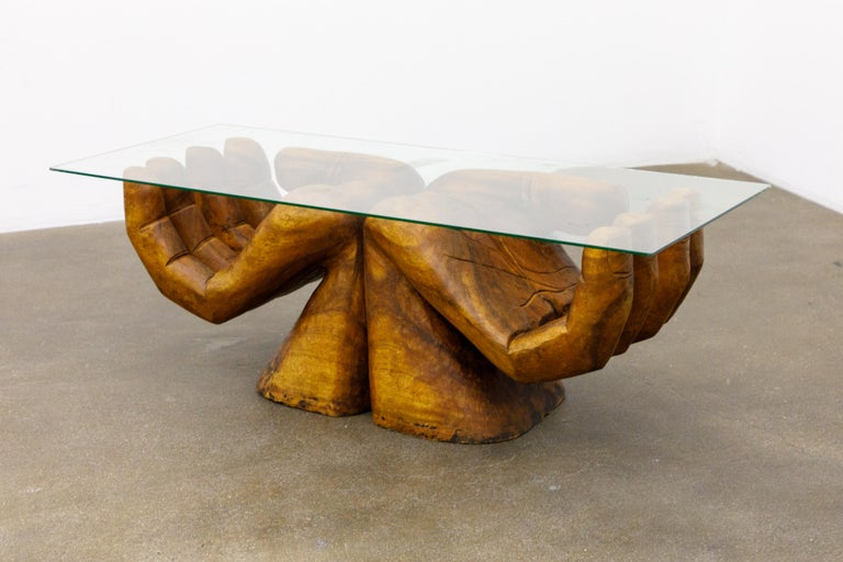 American Surrealist Carved Wood Double Hands Coffee Table, circa 1970s For Sale