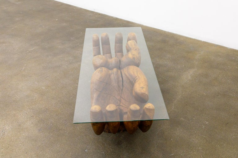 Glass Surrealist Carved Wood Double Hands Coffee Table, circa 1970s For Sale