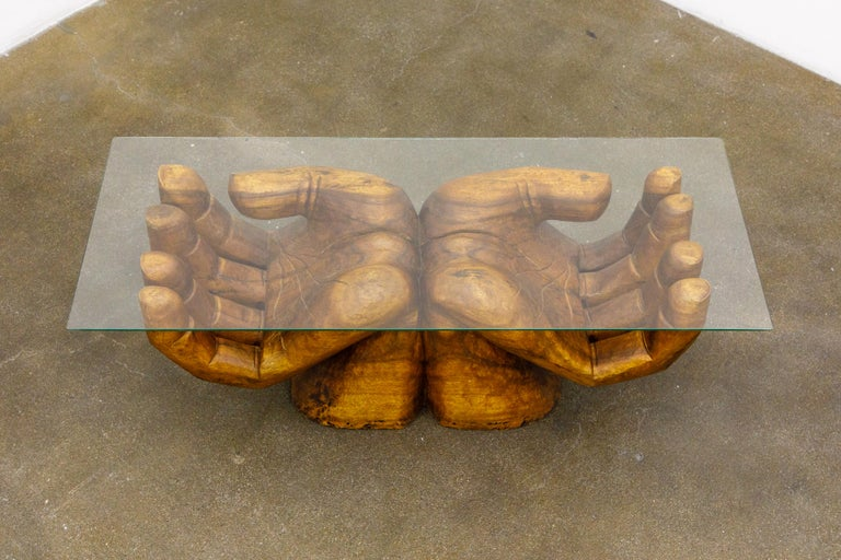 Surrealist Carved Wood Double Hands Coffee Table, circa 1970s For Sale 1