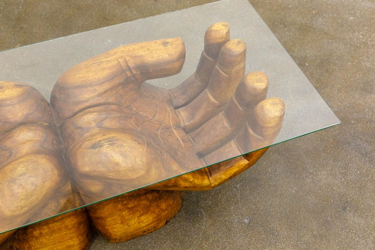 Surrealist Carved Wood Double Hands Coffee Table, circa 1970s For Sale 2