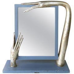 Surrealist Carved Wood Table Standing Mirror