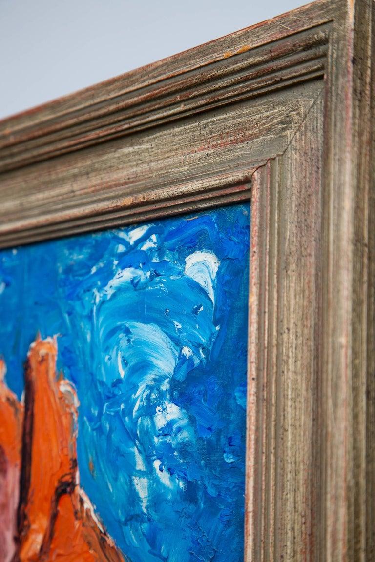 Mid-Century Modern Surrealist Castle Rock Oil Painting For Sale