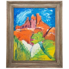 Surrealist Castle Rock Oil Painting