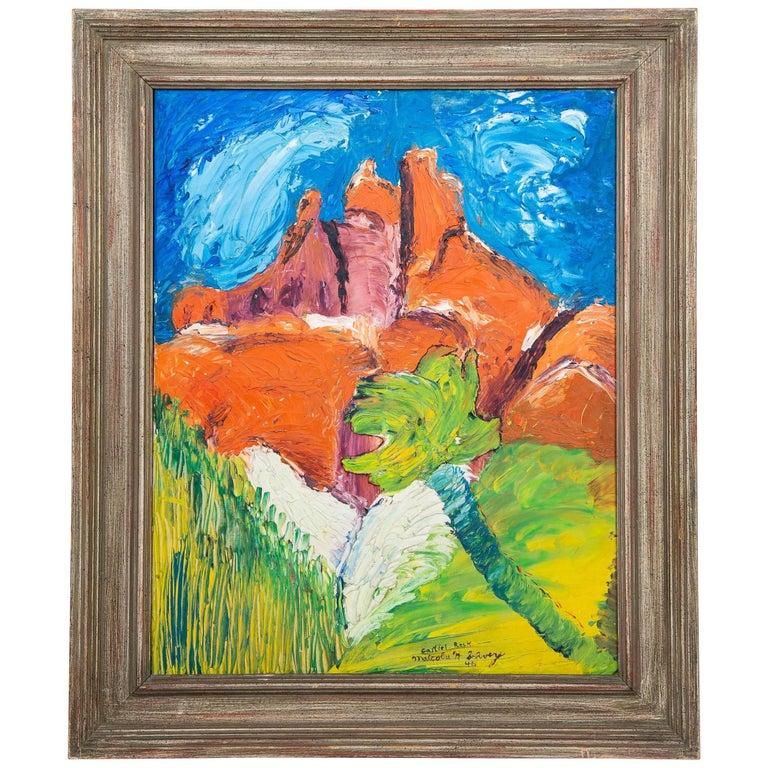 Surrealist Castle Rock Oil Painting For Sale