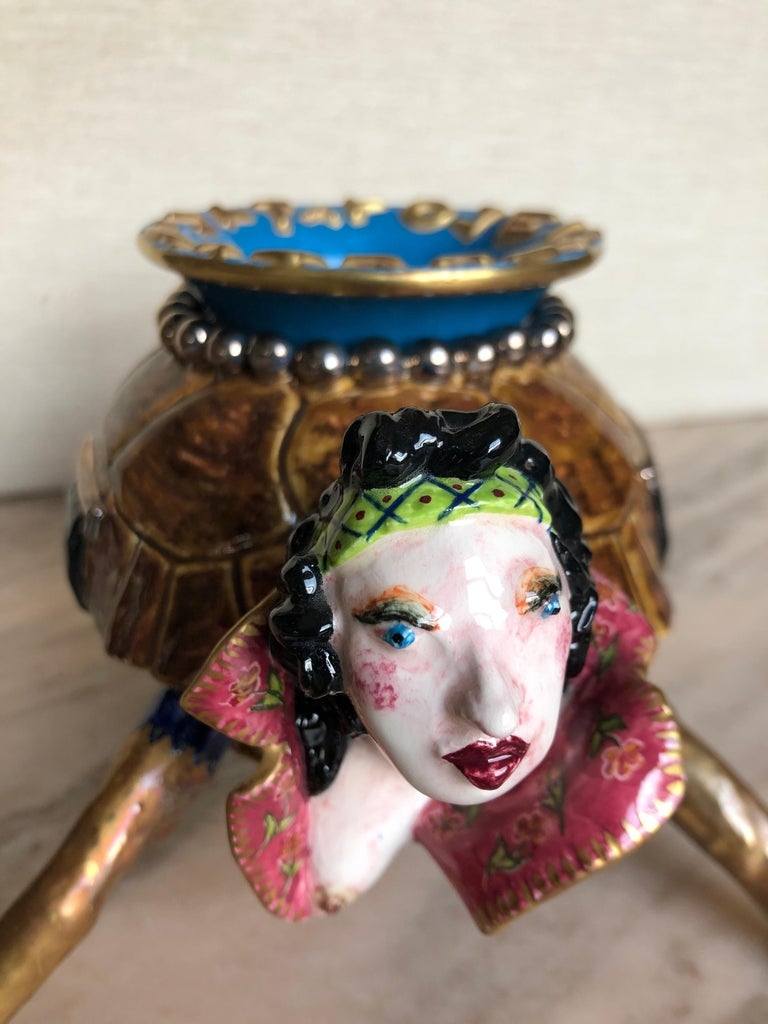 Surrealist Ceramic Box by Garouste and Bonetti For Sale 2