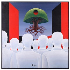 "Surrealist Composition ""Levitating Tree"" by Gino Cocco, 1984"