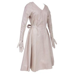 Surrealist Dress In Pink Leather And Integrated Gloves - France Circa 1970/1980