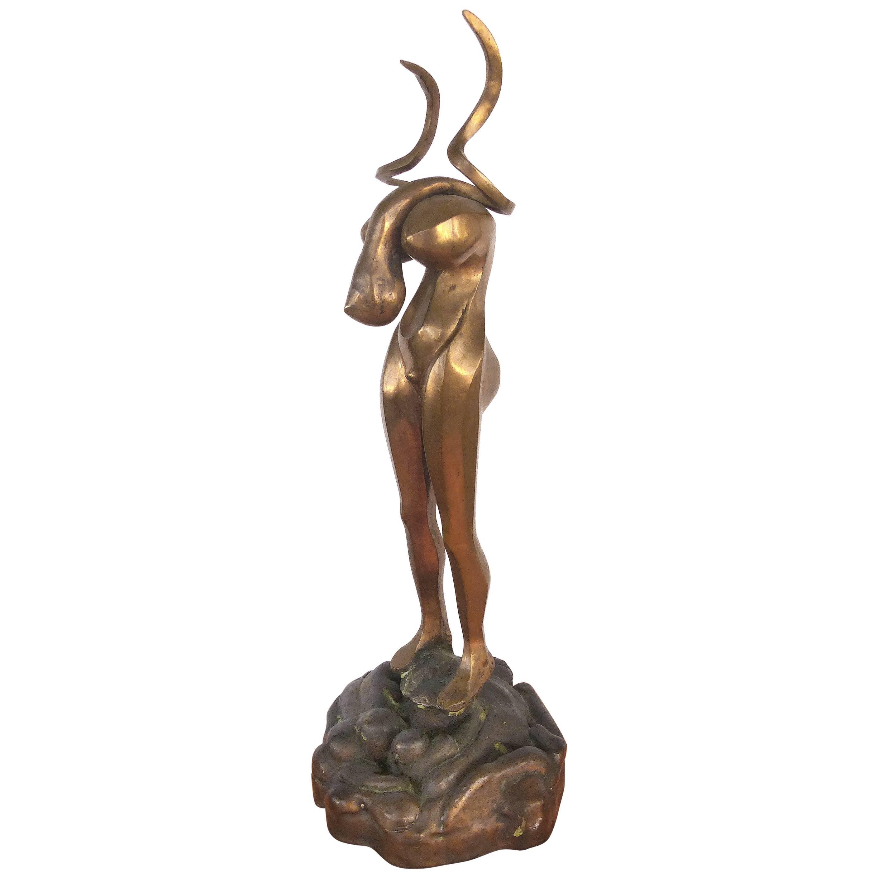 Surrealist Figurative Bronze Signed Zuñiga and Dated, 1977