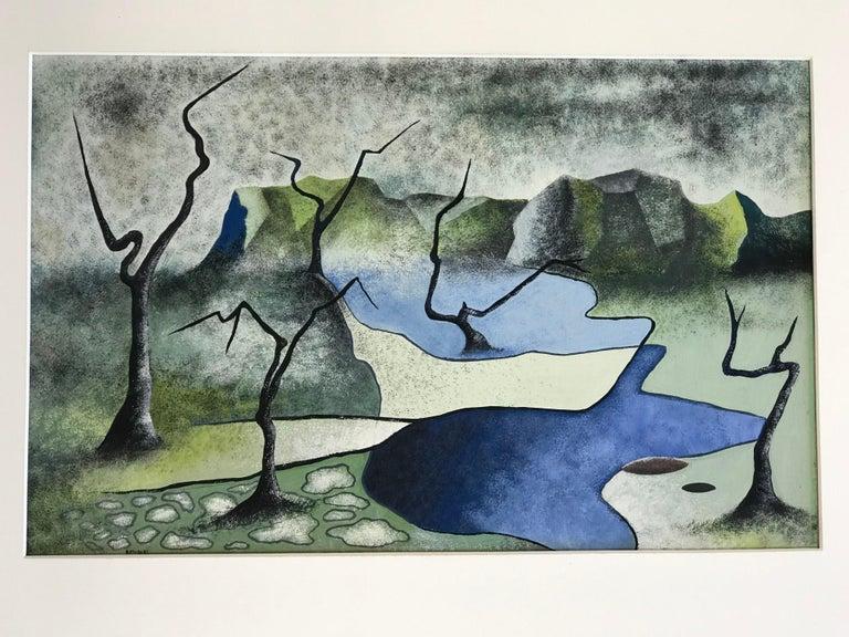 Mid-Century Modern Surrealist Landscape Signed Rothbart For Sale