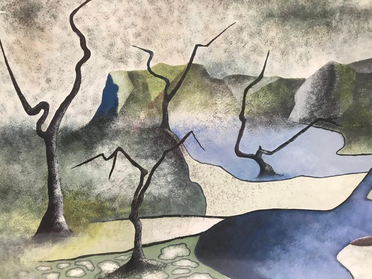 American Surrealist Landscape Signed Rothbart For Sale