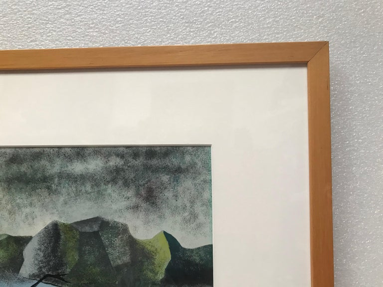 Painted Surrealist Landscape Signed Rothbart For Sale
