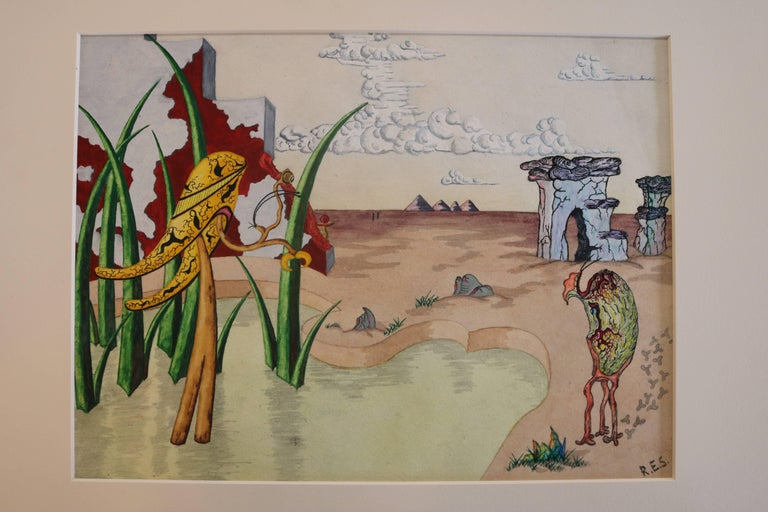 Mid-Century Modern Surrealist Landscape Watercolor Signed R. E. Schwelke and Dated 1947 For Sale