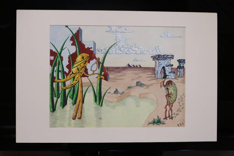 American Surrealist Landscape Watercolor Signed R. E. Schwelke and Dated 1947 For Sale