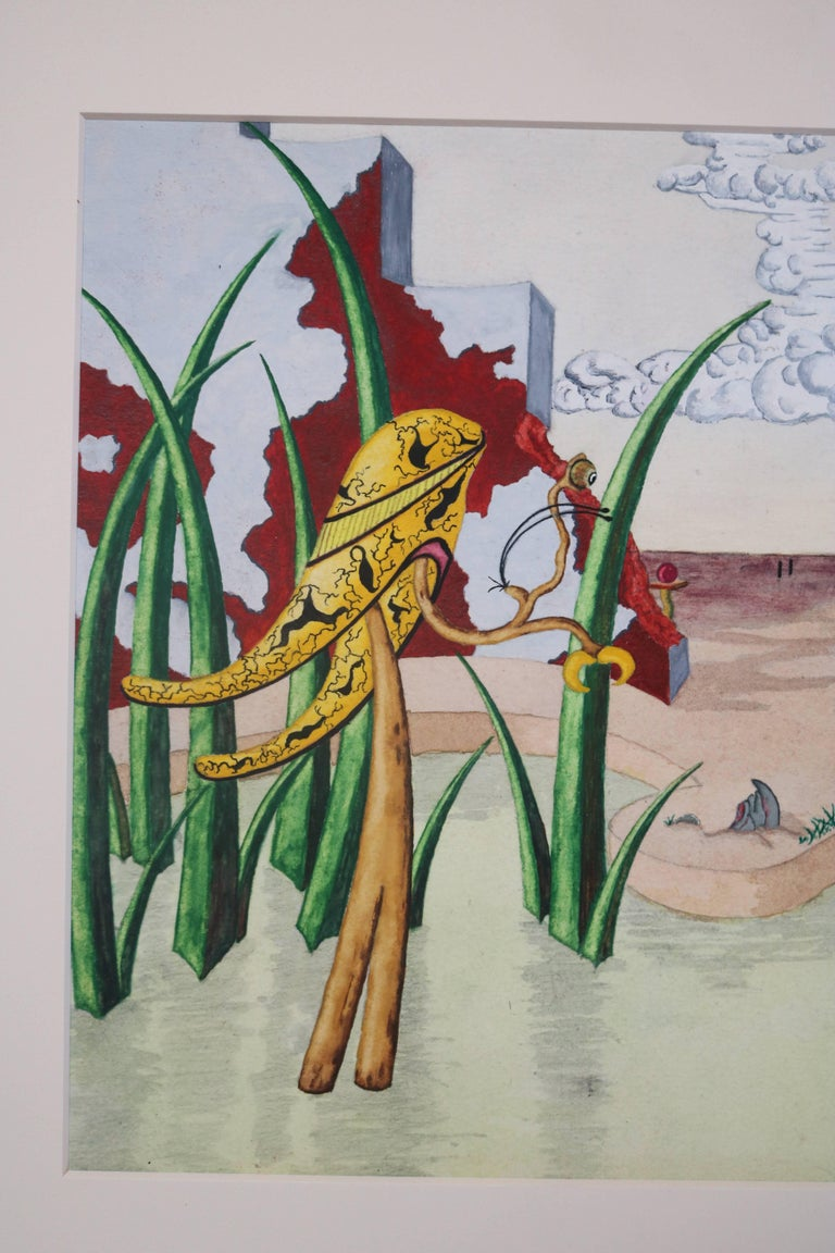 Stained Surrealist Landscape Watercolor Signed R. E. Schwelke and Dated 1947 For Sale