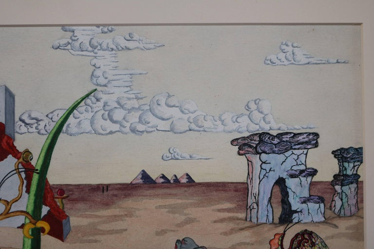 Mid-20th Century Surrealist Landscape Watercolor Signed R. E. Schwelke and Dated 1947 For Sale