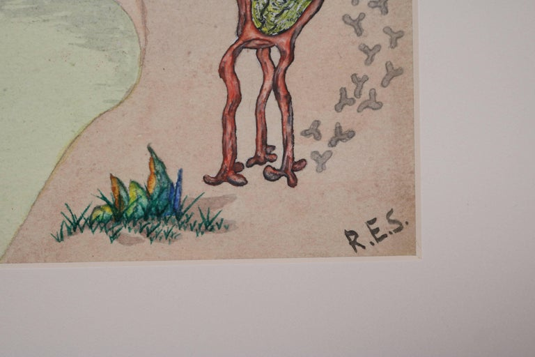 Wood Surrealist Landscape Watercolor Signed R. E. Schwelke and Dated 1947 For Sale