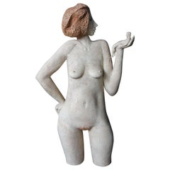 Surrealist Modern Nude Female Ceramic Sculpture Miniature Male Feminist Statue