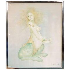 """Surrealist Nude """"Spinx"""" Color Lithograph by Leonor Fini"""
