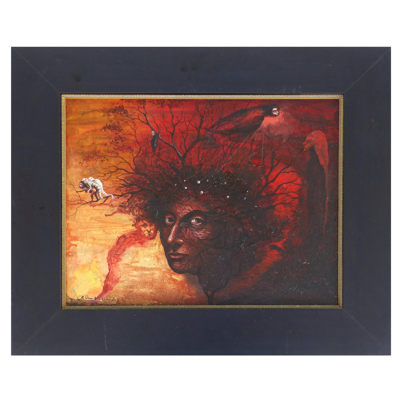 William Carmona Surrealist Oil Painting on Canvas,  Cuban/ Puerto Rican Artist