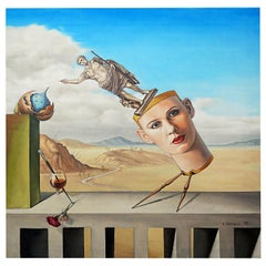 Surrealist Painting of a Stylized Headmade in 1993 by K. Mitovski