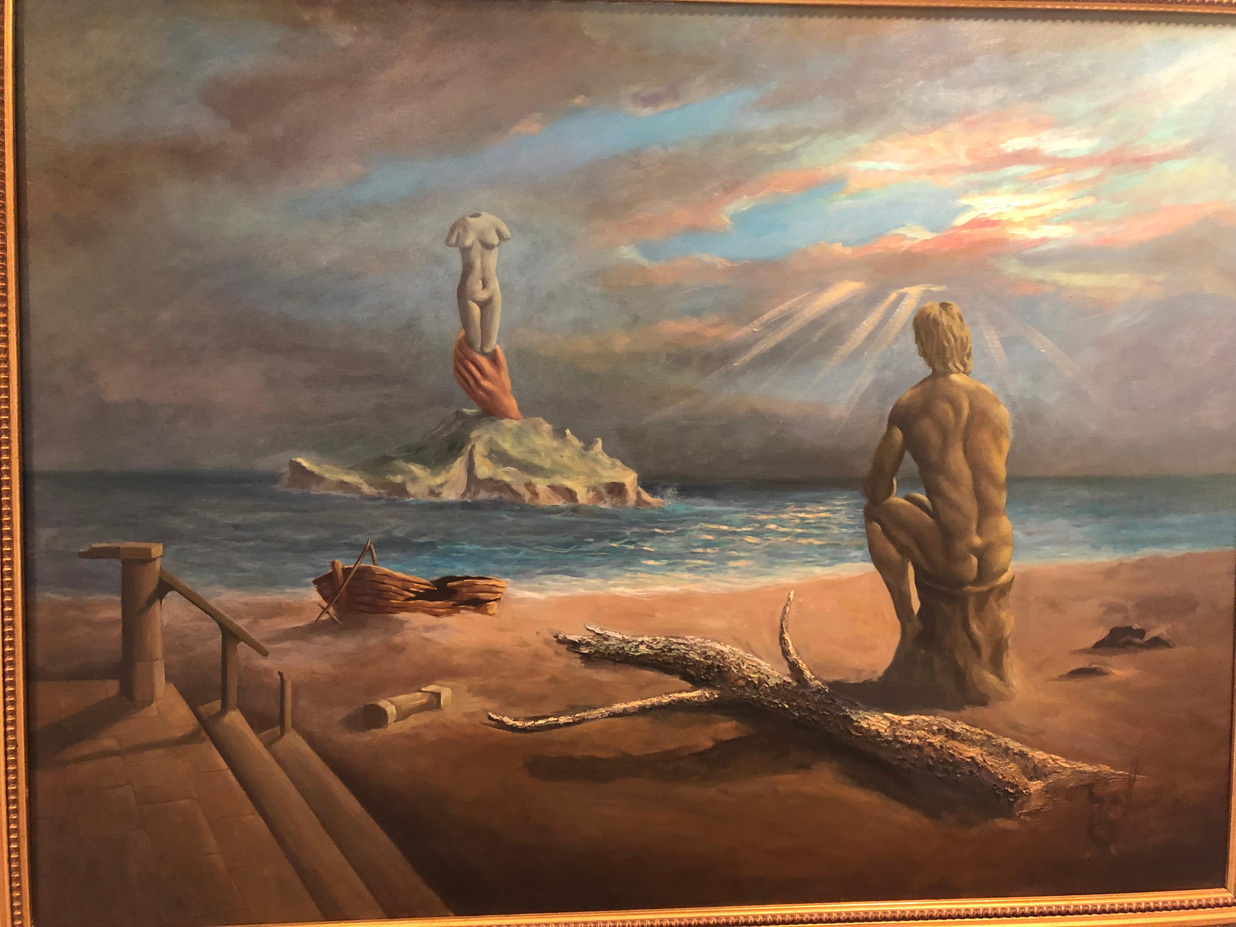 Surrealist Salvador Dali Style Oil on Canvas Signed