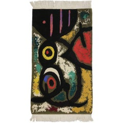 Surrealist Style Tapestry after Miro's 'Femme et Oiseaux' Woman and Birds