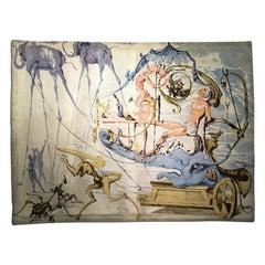 "Surrealist Tapestry ""le char de Bacchus"" by Salvador Dali"