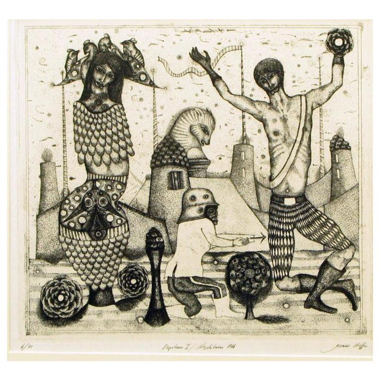 """Surrealistic 1966 Etching By Gerald Steffe Entitled """"Orpheus I"""""""