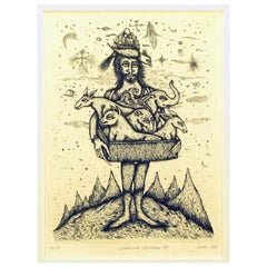 """Surrealistic 1975 Etching By Gerald Steffe Entitled """"Noah's Ark"""""""