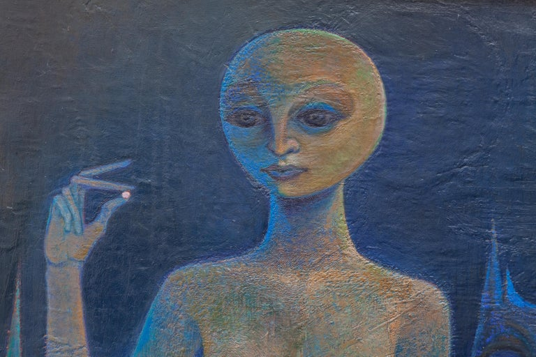 Space Age Surrealistic Oil Painting on Canvas, 1970 For Sale