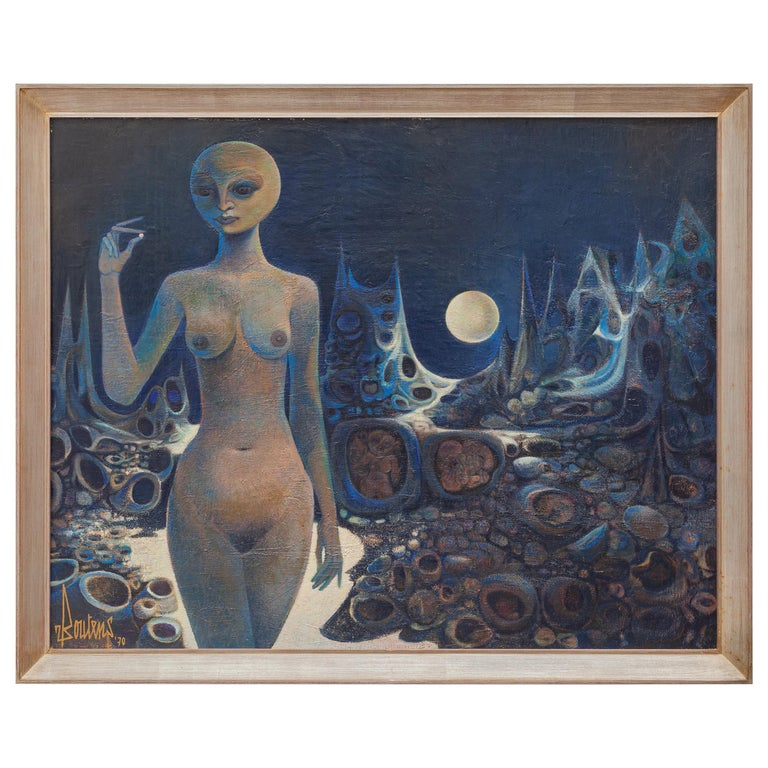 Surrealistic Oil Painting on Canvas, 1970 For Sale