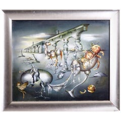 Surrealistic Painting, Oil on Canvas, Unreadable Signature, 20th Century